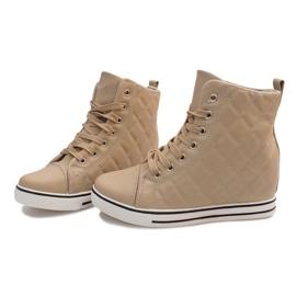 Pikowane Sneakersy Z043 Beżowy 3