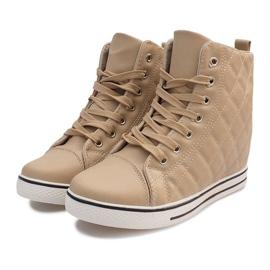 Pikowane Sneakersy Z043 Beżowy 4