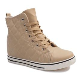Pikowane Sneakersy Z043 Beżowy 5