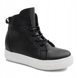 Ażurowe Sneakersy Na Koturnie NB53P Czarny czarne 2