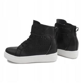 Ażurowe Sneakersy Na Koturnie NB53P Czarny czarne 1