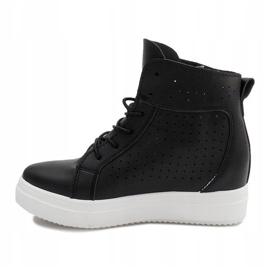 Ażurowe Sneakersy Na Koturnie NB53P Czarny czarne 3