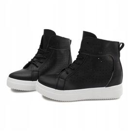 Ażurowe Sneakersy Na Koturnie NB53P Czarny czarne 4