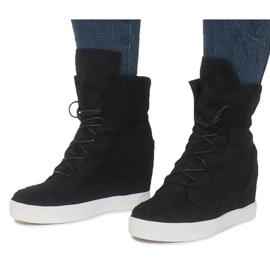 Czarne Zamszowe Sneakersy Na Koturnie Indian 1