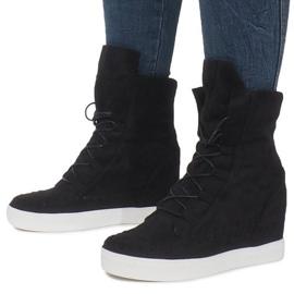 Czarne Zamszowe Sneakersy Na Koturnie Indian 2