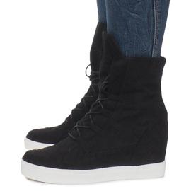 Czarne Zamszowe Sneakersy Na Koturnie Indian 3