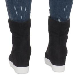 Czarne Zamszowe Sneakersy Na Koturnie Indian 4