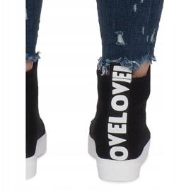 Czarne Materiałowe Sneakersy Na Koturnie Love 1