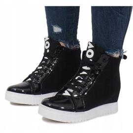 Czarne Materiałowe Sneakersy Na Koturnie Love 2