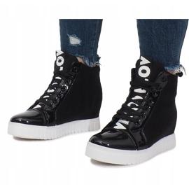 Czarne Materiałowe Sneakersy Na Koturnie Love 3