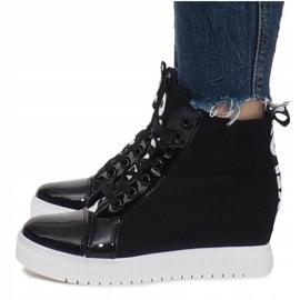 Czarne Materiałowe Sneakersy Na Koturnie Love 5
