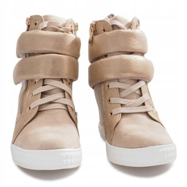Beżowe zamszowe sneakersy na rzepy Amelia beżowy 3