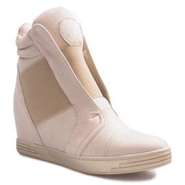 Beżowe sneakersy na koturnie Hannah beżowy 1