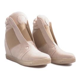 Beżowe sneakersy na koturnie Hannah beżowy 2