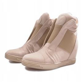 Beżowe sneakersy na koturnie Hannah beżowy 4
