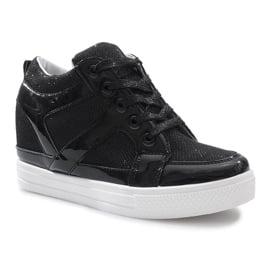 Czarne sneakersy na koturnie Lucienne 2
