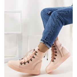 Różowe ażurowe sneakersy na koturnie Mathilde 2