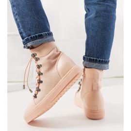 Różowe ażurowe sneakersy na koturnie Mathilde 3