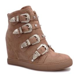 Różowe zamszowe sneakersy z klamrami Maya brązowe 3