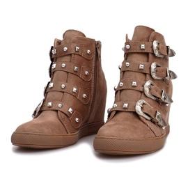 Różowe zamszowe sneakersy z klamrami Maya brązowe 2