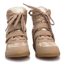 Beżowe sneakersy na koturnie 1628 beżowy 4