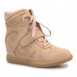 Beżowe sneakersy na koturnie Nadine beżowy 1