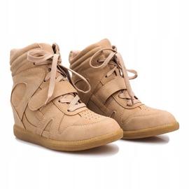 Beżowe sneakersy na koturnie Nadine beżowy 2