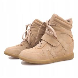 Beżowe sneakersy na koturnie Nadine beżowy 3