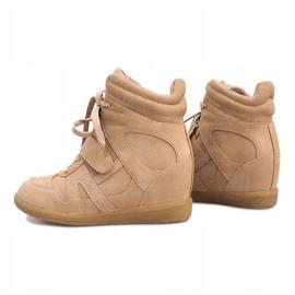 Beżowe sneakersy na koturnie Nadine beżowy 4