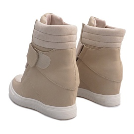 Beżowe sneakersy na koturnie Bahia beżowy 3