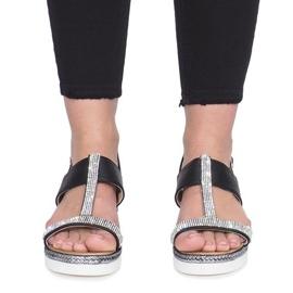 Czarne sandały na koturnie Sixth Sens 1