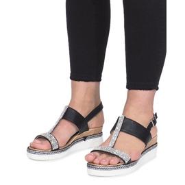 Czarne sandały na koturnie Sixth Sens 4