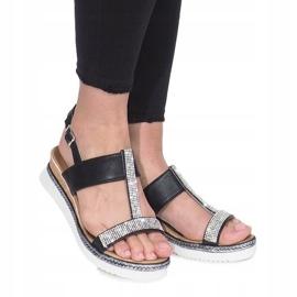 Czarne sandały na koturnie Sixth Sens 2
