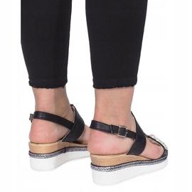 Czarne sandały na koturnie Sixth Sens 3