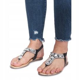 Czarne płaskie sandały z diamentami Larissa 4