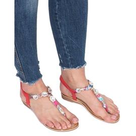 Czerwone płaskie sandały z diamentami Desun 2