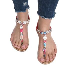 Czerwone płaskie sandały z diamentami Desun 1