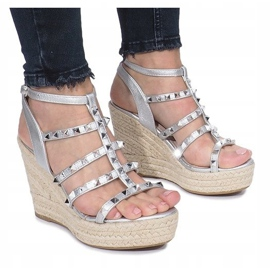 Srebrne sandały na koturnie espadryle Mood szare 1