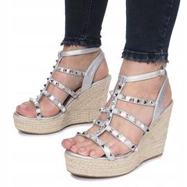 Srebrne sandały na koturnie espadryle Mood szare 4