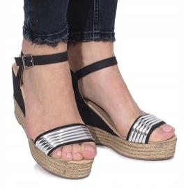 Czarne sandały na delikatnej koturnie Glam Shine 2