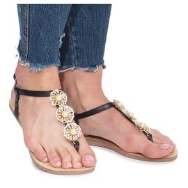 Czarne płaskie sandały z perłami Okra 2