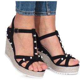 Czarne sandały na koturnie espadryle Chillin 2