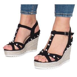 Czarne sandały na koturnie espadryle Chillin 3
