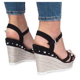 Czarne sandały na koturnie espadryle Chillin 1
