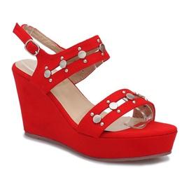 Czerwone sandały na koturnie Give it Up 1