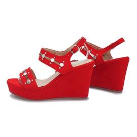 Czerwone sandały na koturnie Give it Up 3