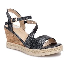 Czarne sandały na koturnie Suede 1