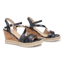 Czarne sandały na koturnie Suede 2