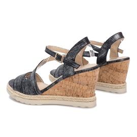 Czarne sandały na koturnie Suede 4