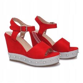 Czerwone sandały na koturnie Travel 2